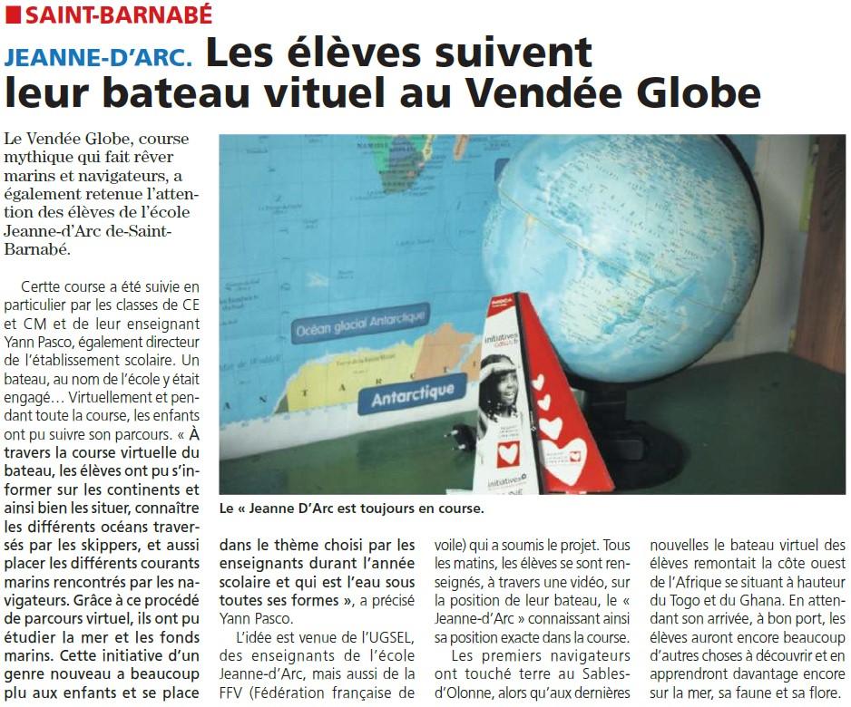 Les élèves suivent le bateau virtuel du Vendée globe.